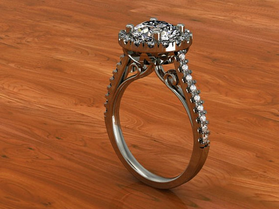 14k Round Halo Cup Ring Semi-mount